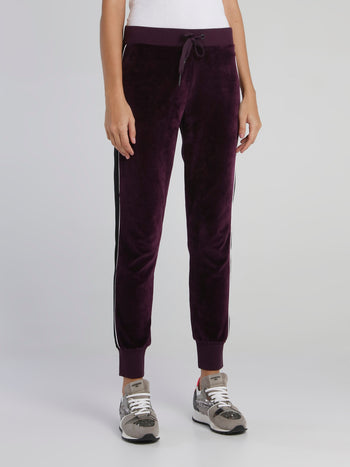 Purple Drawstring Velvet Sweatpants