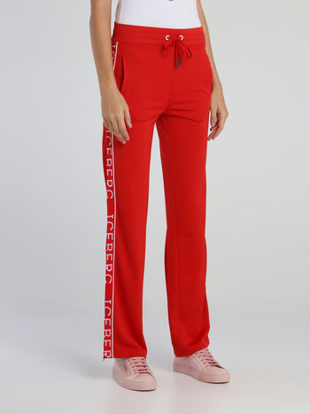 Red Logo Tape Drawstring Track Pants