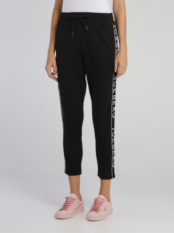 Black Logo Tape Drawstring Track Pants