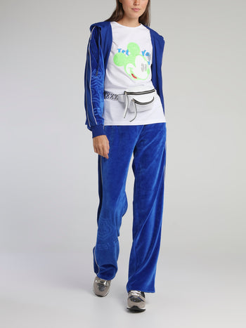 Blue Drawstring Velvet Sweatpants
