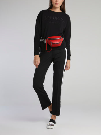 Black Logo Tape Drawstring Active Trousers