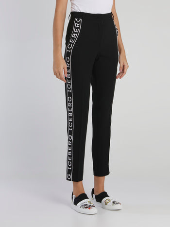 Black Logo Tape High Waist Trousers