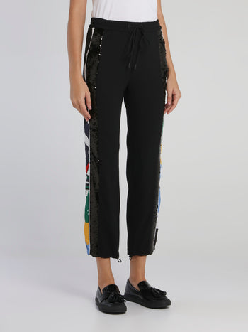 Black Sequin Detail Drawstring Trousers
