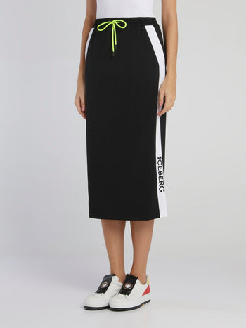 Black Logo Tape Drawstring Pencil Skirt