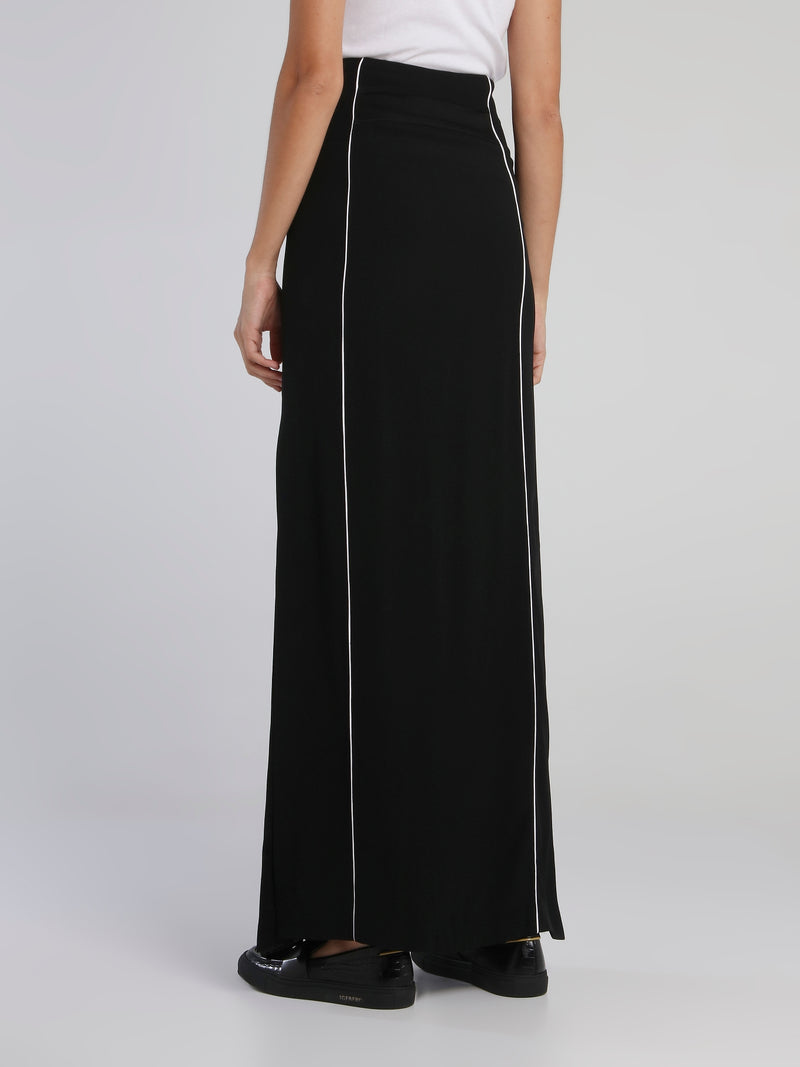Black High Rise Long Skirt