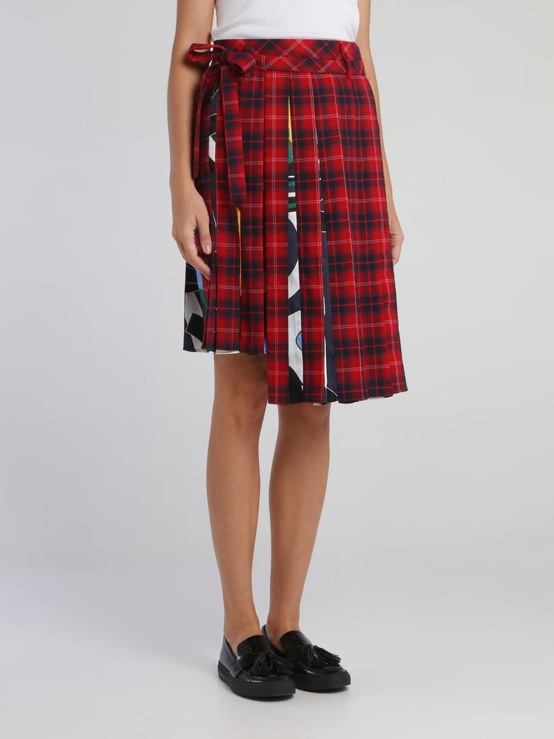 Red Check Pleated Asymmetric Skirt