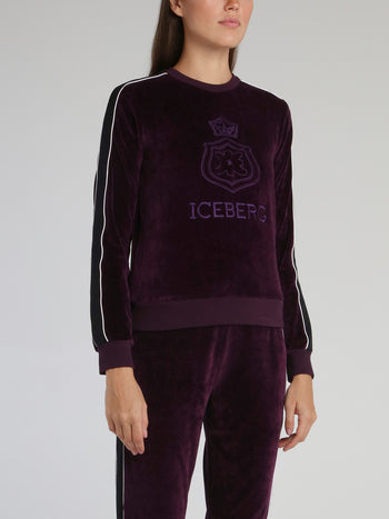 Purple Embroidered Logo Velvet Sweatshirt
