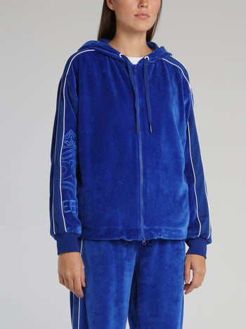 Blue Velvet Hooded Sweat Jacket