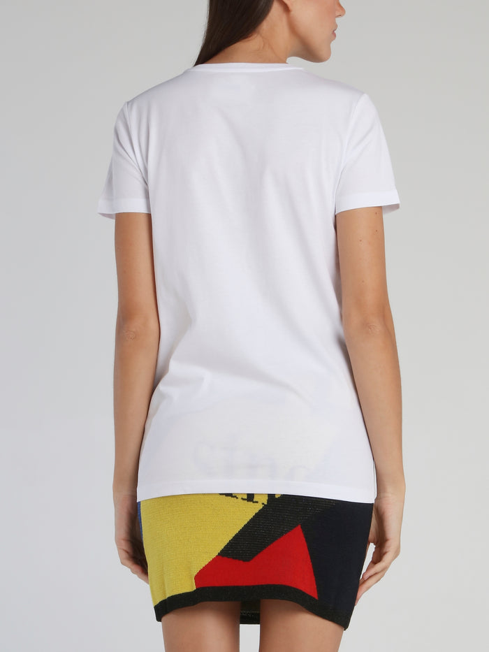 White Embroidered Statement Cotton T-Shirt