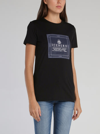 Black Embroidered Statement Cotton T-Shirt