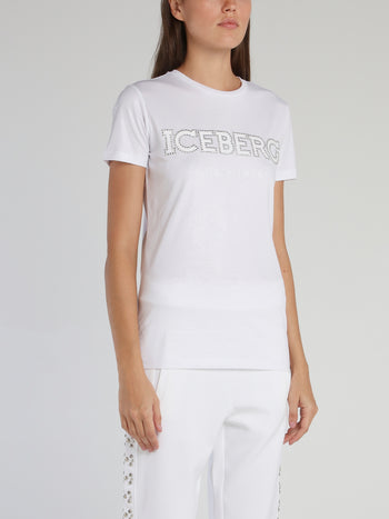 White Studded Logo Cotton T-Shirt