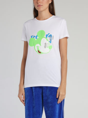 Mickey Mouse White Sequin T-Shirt