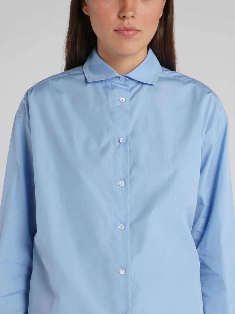 Blue Embroidered Statement Oversized Shirt