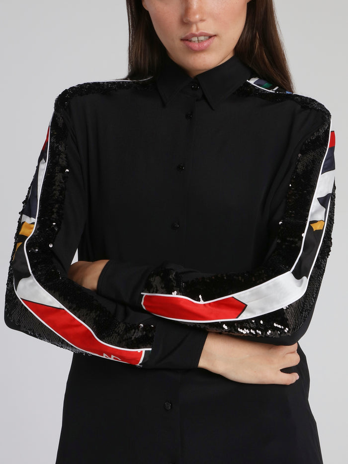 Black Sequin Panel Long Sleeve Shirt