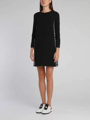 Black Long Sleeve Logo Mini Dress