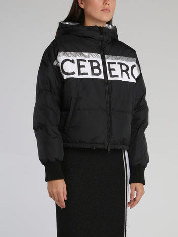 Black Contrast Logo Down Jacket