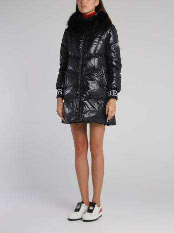 Black Fur Hood Puffer Coat