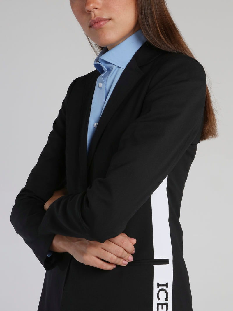 Black Logo Stripe Blazer