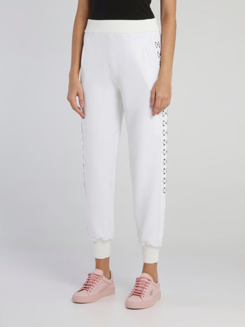 White Studded Waistband Track Pants