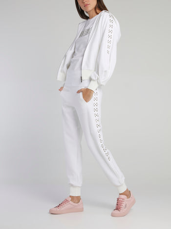 White Studded Sleeve Hooded Sweat Jacket