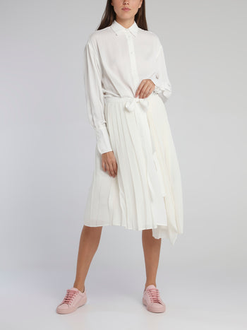 White Accordion Pleated Shirt Dress