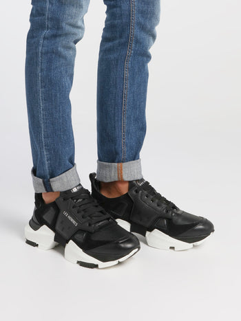Black Chunky Sole Leather Sneakers
