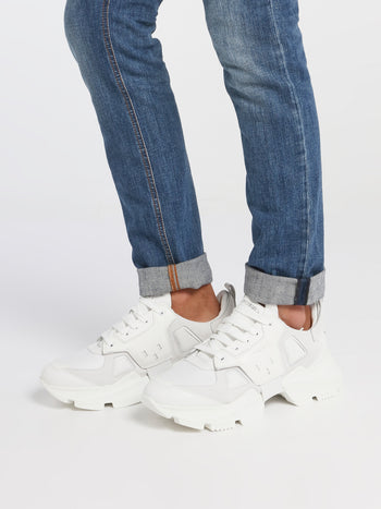 White Chunky Sole Leather Sneakers