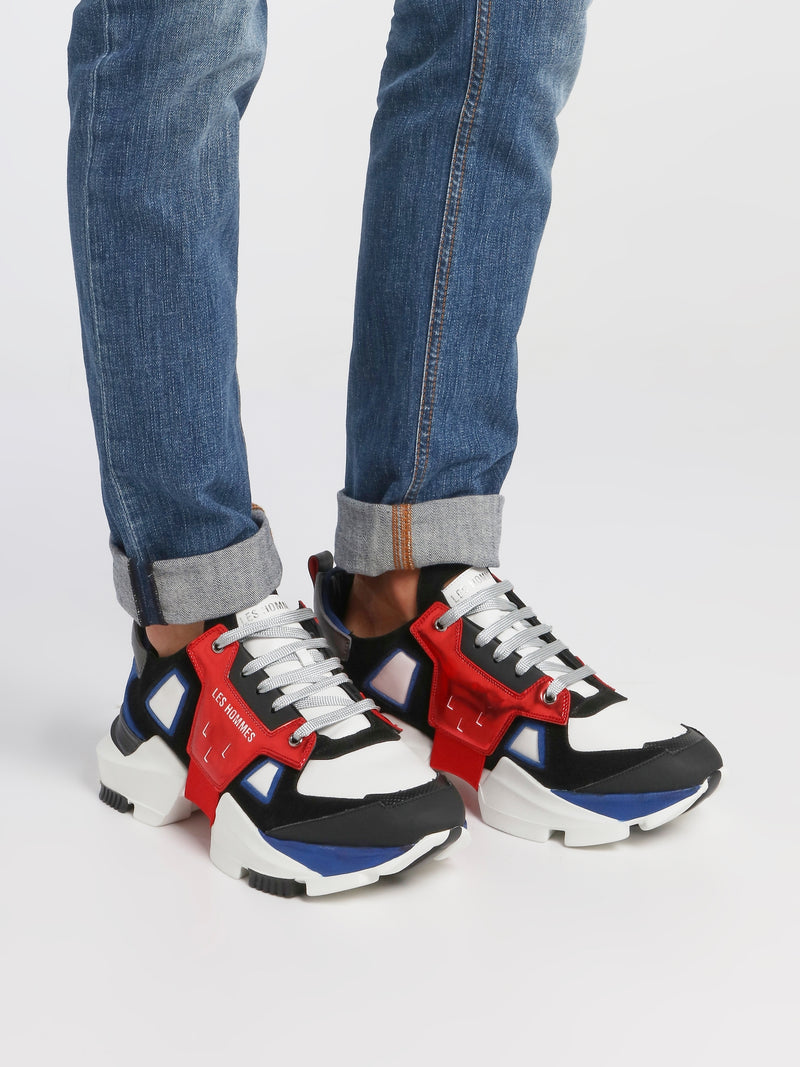 Colour Block Chunky Sole Leather Sneakers