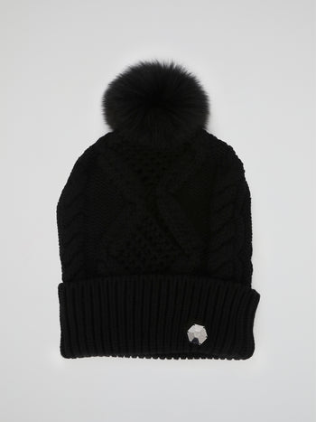 Black Ribbed Pom Pom Beanie