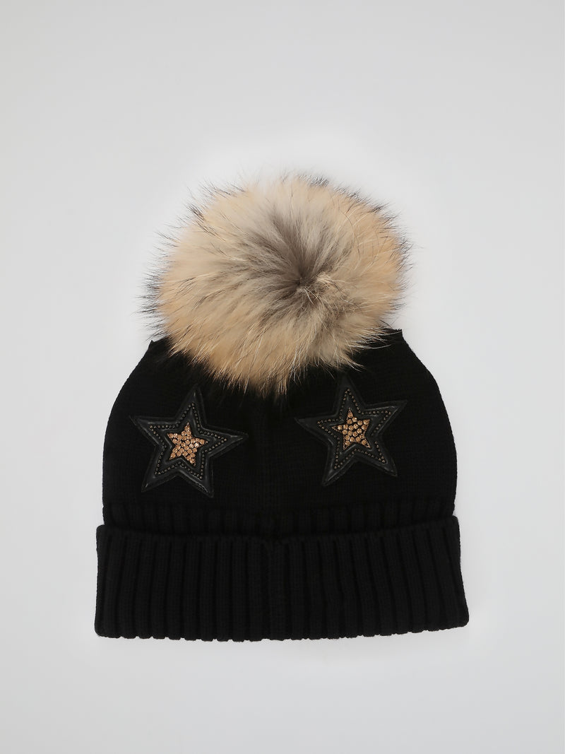 Black Studded Fold Over Pom Pom Beanie