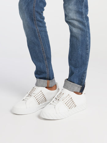 White Star Studded Slip-On Sneakers