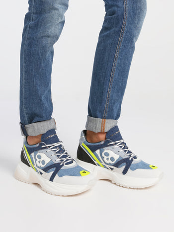 Skull Patch-Work Denim Sneakers