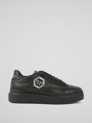 Black Crystal Monogram Leather Sneakers