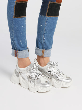 Runner Crystal Metallic Chunky Sneakers