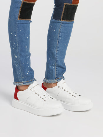 White Studded Heel Perforated Sneakers