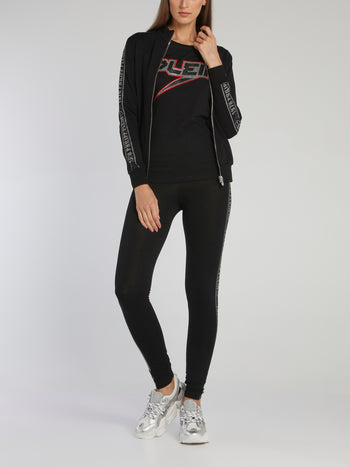 Black Strass Logo Tape Jogging Jacket
