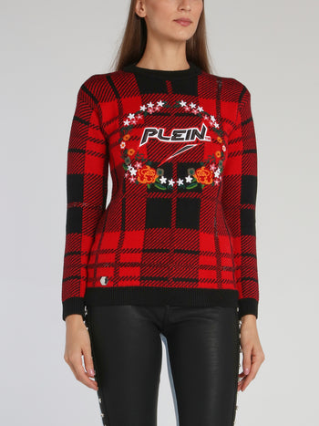 Red Embroidered Tartan Pullover