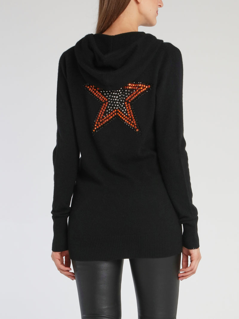 Megan Black Deep-V Sweat Top