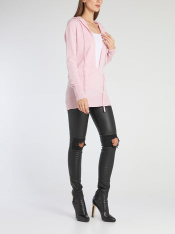 Megan Pink Deep-V Sweat Top
