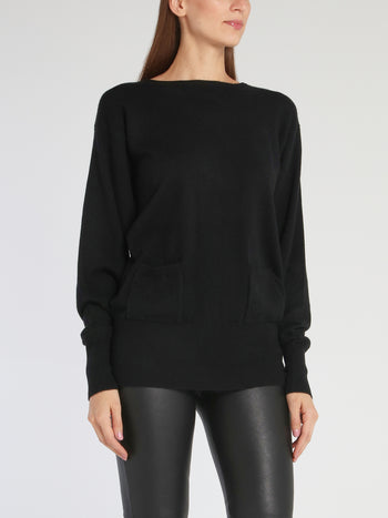 Kelly Black Fine-Knit Sweater