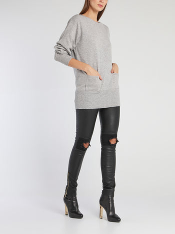 Kelly Grey Fine-Knit Sweater