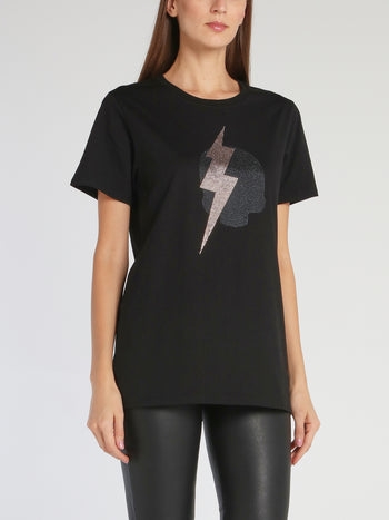 Giselle Black Strass Studded T-Shirt