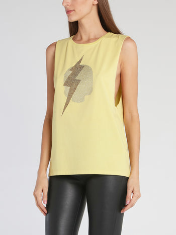 Chrissy Yellow Cut Off Sleeve Top