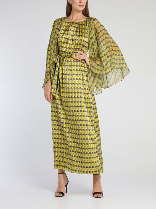 Cameron Green Butterfly Sleeve Midi Dress