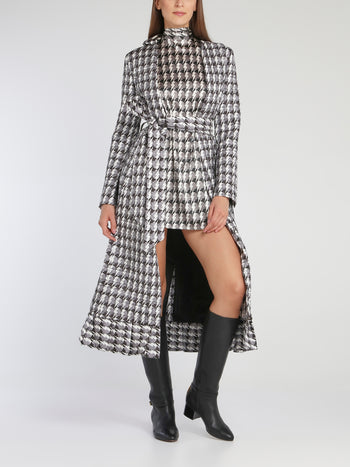 Helen Check Flared Hem Coat