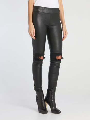 Chloe Black Distressed Leather Pants