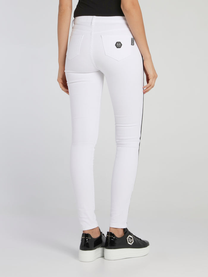 White Contrast Lining Distressed Jeggings