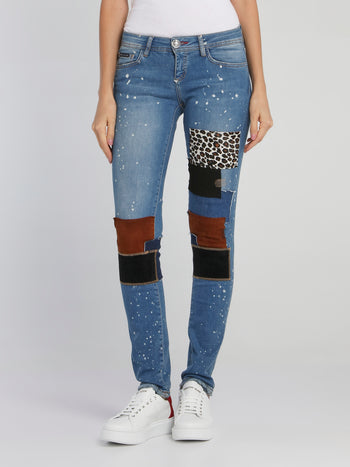 Patch-Work Paint Splatter Denim Jeans