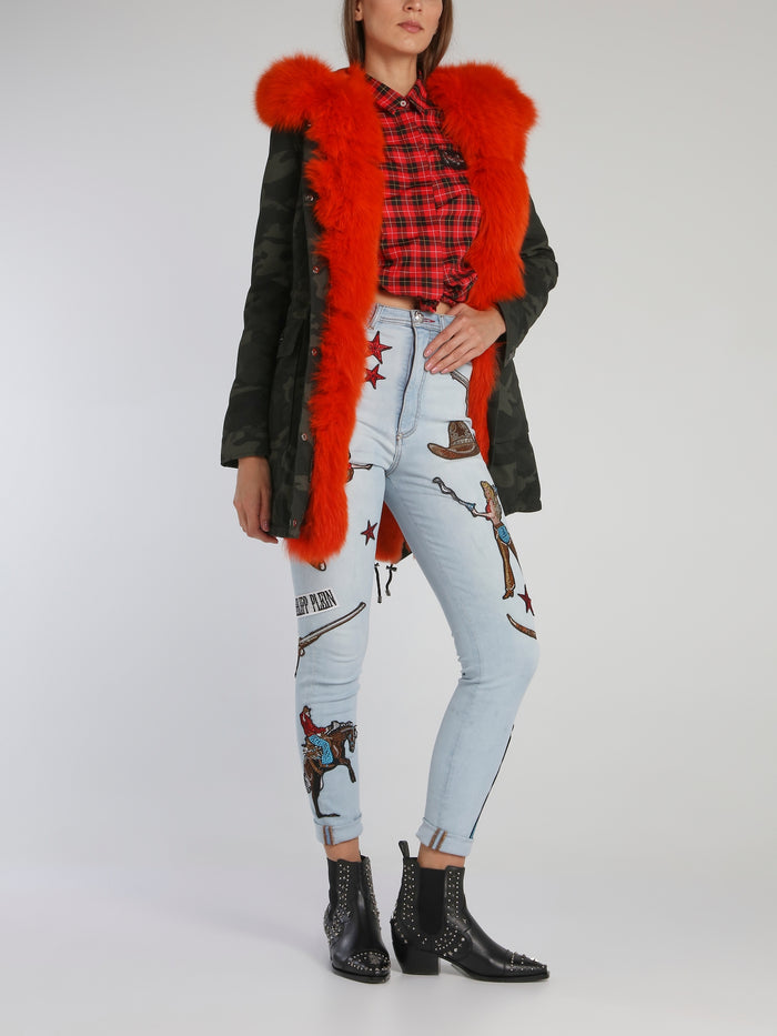 Cowboy Patched High Waist Jeggings