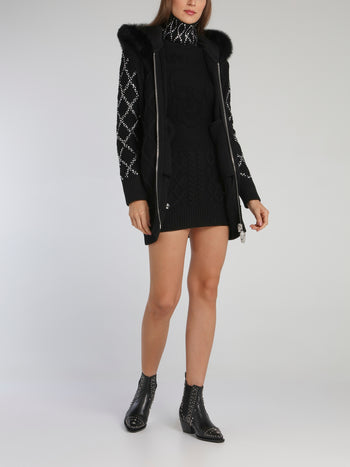 Black Crystal Detail Knitted Jacket